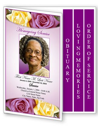 Lovely Purple Rose 4 Page Graduated Fold Program Template
