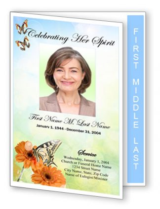 Beautiful Butterfly Graduated fold Funeral Program Template