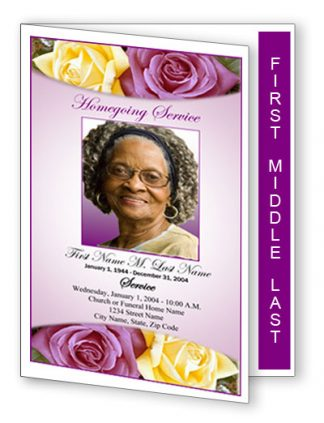 Lovely Purple Rose Graduated Fold Program Template