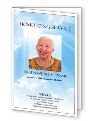 Blue Sky Bifold Funeral Program Template
