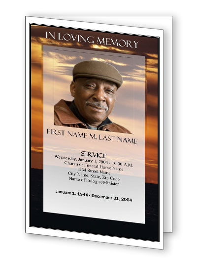 Brown Sunset Bifold Funeral Program Template