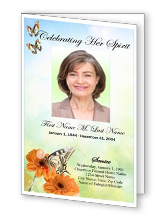 Beautiful Butterfly Funeral Program Template