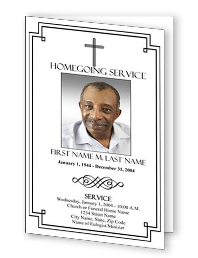 Classic Cross Bifold Funeral Program Template