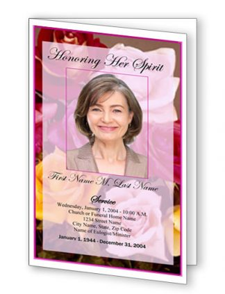Flowers of Devotion Bifold Funeral Program Template