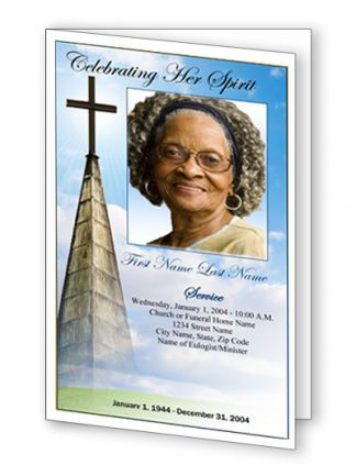 Heavenly Cross Bifold Funeral Program Template