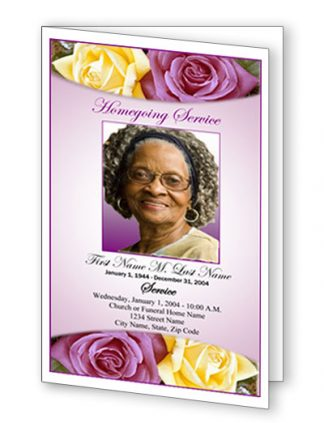 Lovely Purple Rose Bifold Funeral Program Template