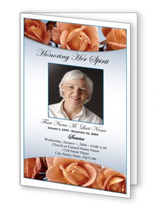 Memorial Roses Bifold Funeral Program Template