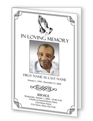Praying Hands Bifold Funeral Program Template