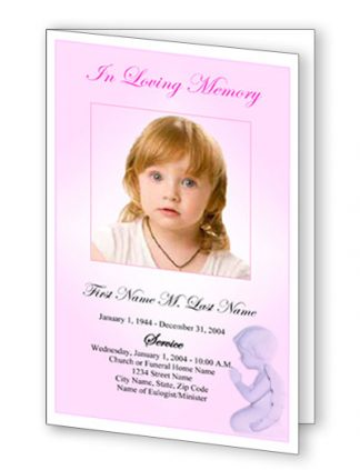 Precious Pink Angel Bifold Funeral Program Template