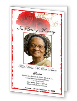 Red Rose BiFold Funeral Program Template