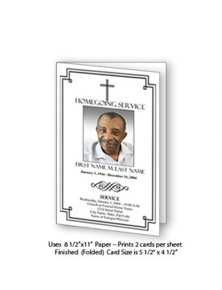 Classic Cross Memorial Funeral Card Template