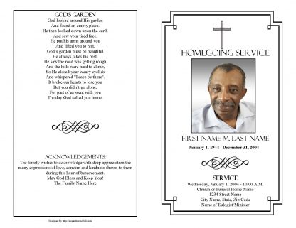 Classic Cross Large Tabloid Funeral Program Template