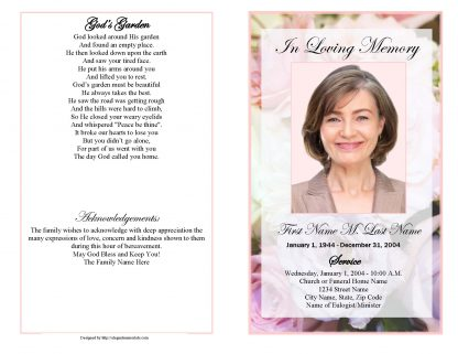 Pastel Memories Bifold Funeral Program Template