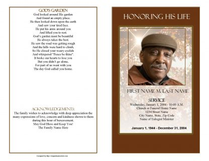 Ray of Sunshine Bifold Funeral Program Template