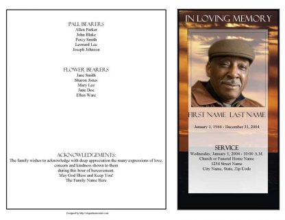 Brown Sunset 4 Page Graduated Fold Program Template