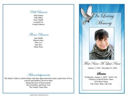 Celestial Dove 4 Page Graduated Fold Program Template