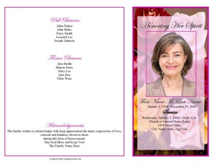 Flowers of Devotion 4 Page Graduated Fold Program Template