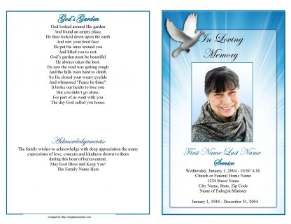Celestial Dove Graduated Fold Program Template