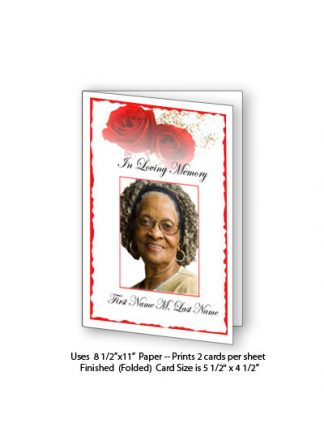 Red Rose Memorial Funeral Card Template