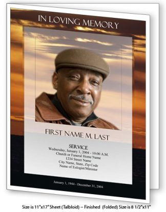 Brown Sunset Large Tabloid Funeral Program Template