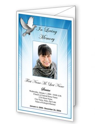 Celestial Dove Trifold Funeral Program Template