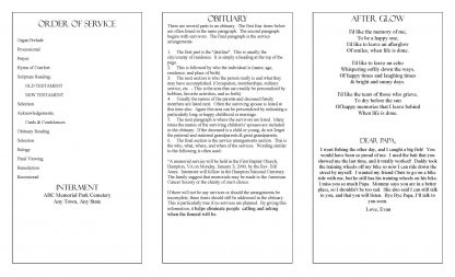 Glowing Memories Trifold Funeral Program Template