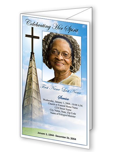 Heavenly Cross Trifold Funeral Program Template