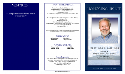 Mountain Memory Trifold Funeral Program Template