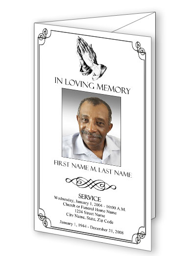 Praying Hands Trifold Funeral Program Template