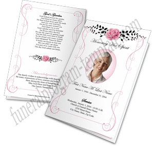 Vintage Rose Funeral Program Template