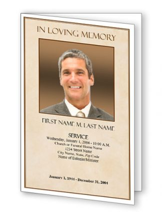 Tan Simplicity Bifold Funeral Program Template