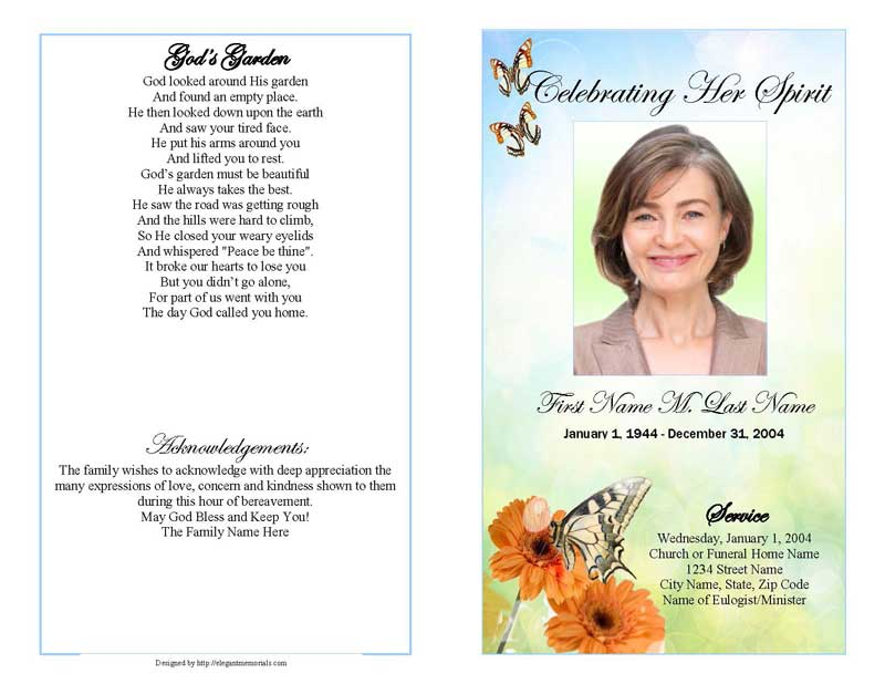 Beautiful Butterfly Sample Funeral Program