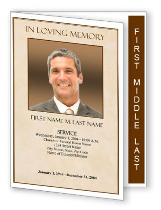 Tan Simplicity Graduated Fold Funeral Program Template