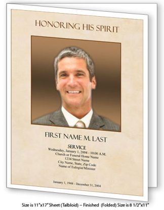 Tan Simplicity Large Tabloid Funeral Program Template
