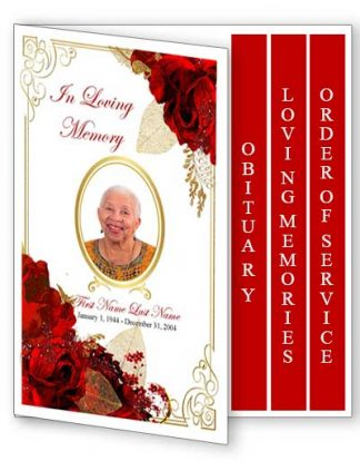 Floral Bouquet Frame 4 Page Graduated Fold Funeral Program Template