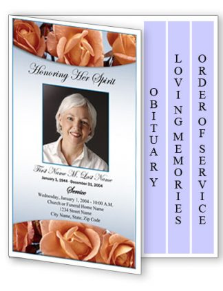 Memorial Roses 4 Page Graduated Fold Program Template