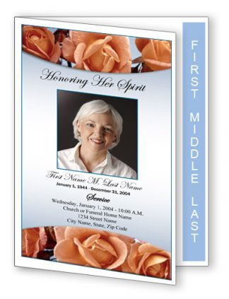 Memorial Roses Graduated Fold Program Template