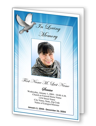 Celestial Dove Bifold Funeral Program Template