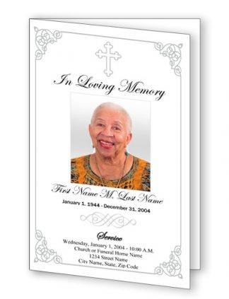 Grey Ornate Cross Bifold Funeral Program Template