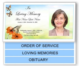 Beautiful Butterfly Bottom Graduated Fold Funeral Program Template