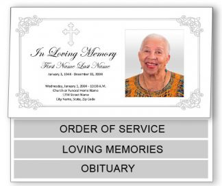 Grey Ornate Cross Bottom Graduated Fold Funeral Program Template