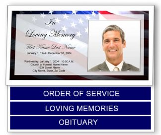 Patriotic (US) Bottom Graduated Fold Funeral Program Template