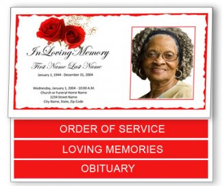 Red Rose Bottom Graduated Fold Funeral Program Template