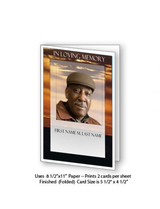 Brown Sunset Memorial Funeral Card Template