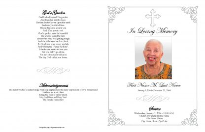 Grey Ornate Cross Large Tabloid Funeral Program Template