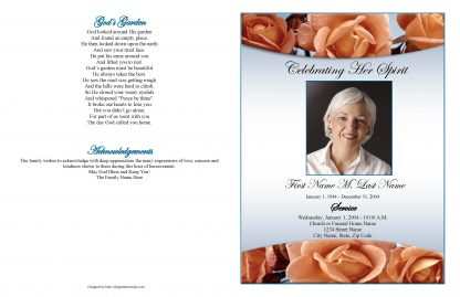 Memorial Roses Large Tabloid Funeral Program Template