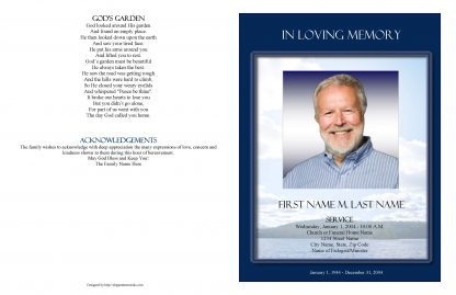 Mountain Memory Large Tabloid Funeral Program Template