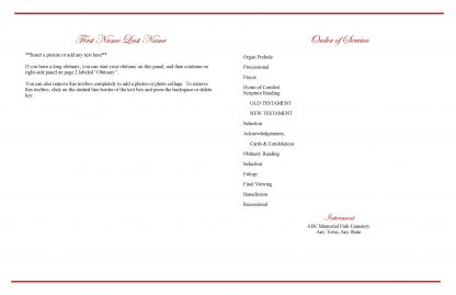 Red Rose Large Tabloid Funeral Program Template