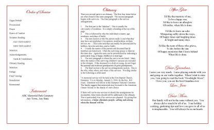 Floral Bouquet Frame Trifold Funeral Program Template