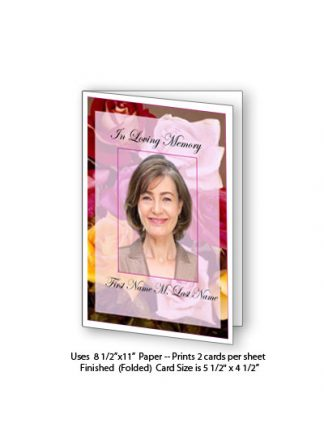Flowers of Devotion Memorial Funeral Card Template